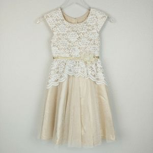 Jona Michelle Lace & Gold Tulle Party Dress